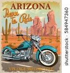 vintage arizona motorcycle... | Shutterstock .eps vector #584947360