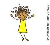cartoon stick figure girl with... | Shutterstock .eps vector #584947630
