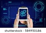 jigsaw puzzle teamwork... | Shutterstock . vector #584950186