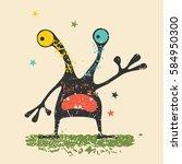 cute black monster with... | Shutterstock .eps vector #584950300