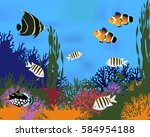 different species of coral fish....   Shutterstock .eps vector #584954188