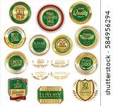 golden shields laurel wreaths... | Shutterstock .eps vector #584956294