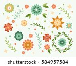 spring flowers collection.... | Shutterstock .eps vector #584957584