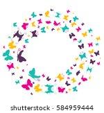 pattern butterflies flying in... | Shutterstock .eps vector #584959444