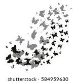 vector silhouette butterfly... | Shutterstock .eps vector #584959630