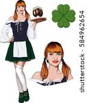 young red haired irish waitress ... | Shutterstock . vector #584962654