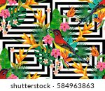seamless summer tropical... | Shutterstock .eps vector #584963863