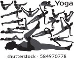 set of vector silhouettes of... | Shutterstock .eps vector #584970778