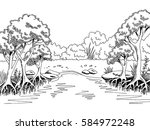 jungle forest river graphic... | Shutterstock .eps vector #584972248