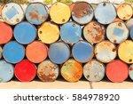 colorful heap of oil barrel | Shutterstock . vector #584978920