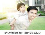 father and son having fun in... | Shutterstock . vector #584981320
