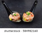 noodles with prawns and... | Shutterstock . vector #584982160
