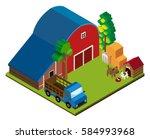 3d design for scene with barn... | Shutterstock .eps vector #584993968