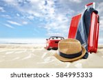 summer trip and suitcase on... | Shutterstock . vector #584995333