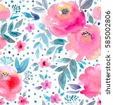 watercolor floral pattern and... | Shutterstock . vector #585002806