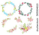 floral set hand painted spring... | Shutterstock . vector #585004810