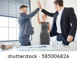 business people giving high... | Shutterstock . vector #585006826