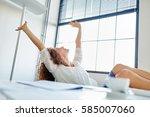 businesswoman in office... | Shutterstock . vector #585007060