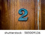 bronze house number two  2   on ... | Shutterstock . vector #585009136