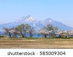mt.bandai and inawashiro lake ... | Shutterstock . vector #585009304