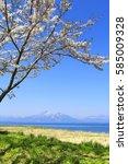 mt.bandai and inawashiro lake ... | Shutterstock . vector #585009328