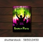 poster template for disco party ... | Shutterstock .eps vector #585013450