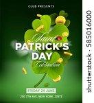st. patrick s day green beer... | Shutterstock .eps vector #585016000