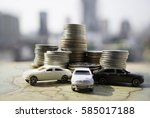 miniature car model and... | Shutterstock . vector #585017188