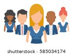 team of young man and woman... | Shutterstock .eps vector #585034174