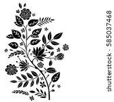 bouquet  posy. flowers  leaves  ...   Shutterstock . vector #585037468