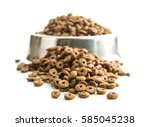 dog food in metal bowl isolated ... | Shutterstock . vector #585045238
