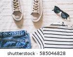 flat lay women fashion. trendy... | Shutterstock . vector #585046828
