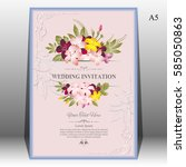 invitation card or wedding card ... | Shutterstock .eps vector #585050863