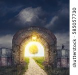 mysterious gate entrance in...   Shutterstock . vector #585057730