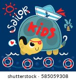 cute cartoon turtle with sailor ... | Shutterstock .eps vector #585059308