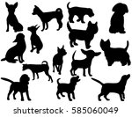 Stock vector collection of silhouettes of dogs 585060049