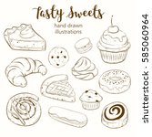 vector set with pasty goods.... | Shutterstock .eps vector #585060964
