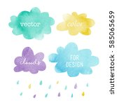 watercolor clouds for design | Shutterstock .eps vector #585065659