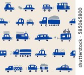 Seamless Pattern With Blue Cars