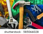 Small photo of Tools house master carpenter. Folded in a pile. Closeup. A colorful composition. Home workshop