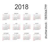 calendar 2018 year vector...   Shutterstock .eps vector #585066799
