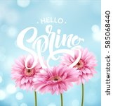 gerbera flower background and... | Shutterstock .eps vector #585068440