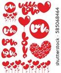 romantic red love heart... | Shutterstock .eps vector #585068464