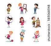 children hobbies set with music ... | Shutterstock .eps vector #585068548