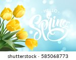 hello spring hand lettering... | Shutterstock .eps vector #585068773