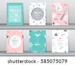Stock vector set of baby shower card on retro pattern design vintage poster template greeting vector 585075079