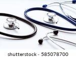 two disassembled stethoscope in ... | Shutterstock . vector #585078700