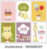 Set Of Cute Happy Birthday Card ...