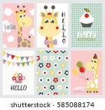 set of cute happy birthday card ... | Shutterstock .eps vector #585088174