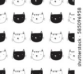 cat pattern illustration vector. | Shutterstock .eps vector #585096958